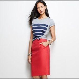 J Crew Pencil Skirt Double-Serge Cotton w/Pockets